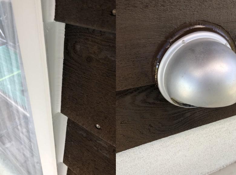 岩国Y様邸、換気口周りのコーキング打ち換え完了写真