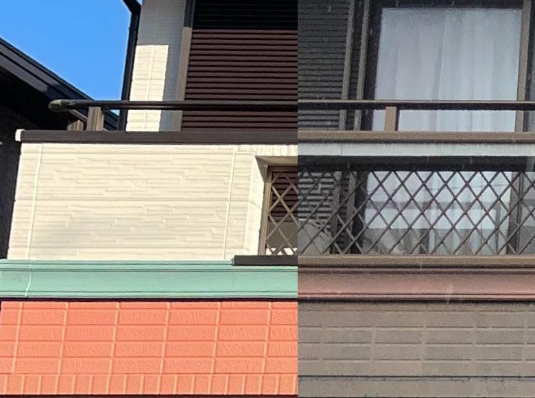 大竹市N様邸、外壁塗装(左アフター写真:右ビフォー写真)