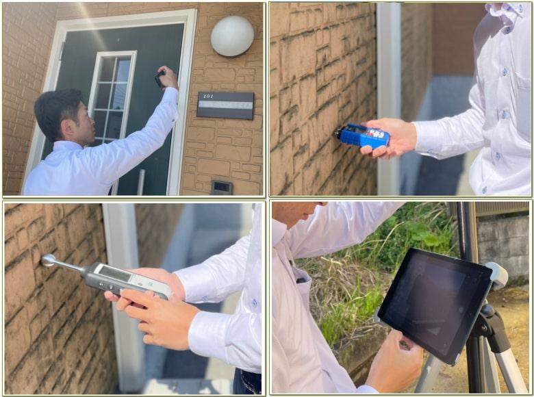 小澤社長がアパートの診断・調査を行っている様子(写真4枚)